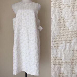 HALOGEN Jacquard Sleeveless Floral Sheath Dress